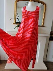 99P bid new HUSH alvers red zebra striped Swing Dress Summer Holiday UK 10 12