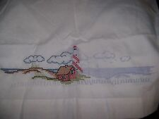 CROSS STITCH KIT STAMPED PILLOW CASES LIGHTHOUSES NAUTICAL