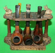 Vintage Wooden Weathered Pipe Rack w/ SCOTTISH TERRIER DOG Carvings & 6 PIPES