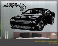 "JCM Custom Dodge Challenger SRT Supercharged HEMI Hellcat Wall Decal / 42"" X 22"""