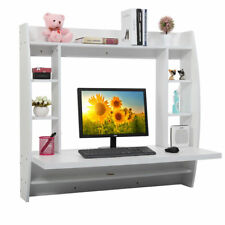 Home Office Computer Table Floating Wall Mount Desk With Storage Shelves White