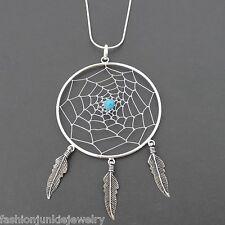 Large Dream Catcher Necklace - 925 Sterling Silver - Dreamcatcher Pendant SN