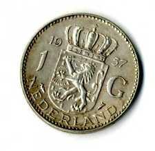 Moneda Holanda 1957 1 Florin Juliana plata 0.720 silver coin Nederland