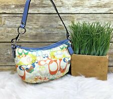 Coach Beige Teal Orange Signature Print Patent Leather Trim Small Purse Hand Bag