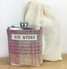 GIN QUEEN Tweed Hip Flask - Birthday Gift for Friend - Gin Lover Gift - Ladies