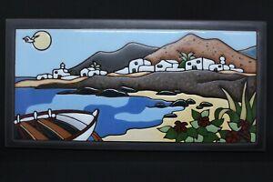Signed 'Alicia Penin' Handmade Red Ceramic Tile, Coastal Scene - Lanzarote
