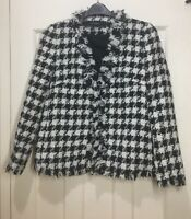 ZARA WHITE BLACK WOOL CHECK TWEED BLAZER JACKET SIZE L BNWT