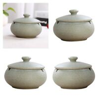 3x Ceramic Ashtray with Lids Ash Tray for Indoor Outdoor Home Decoration
