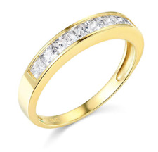 1.50 Ct Princess Real 14k Yellow Gold Engagement Wedding Anniversary Band Ring