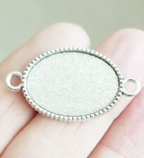 5 ANTIQUE SILVER BLANK OVAL CABOCHON CONNECTOR PENDANT SETTING CHARM 18 X 25MM