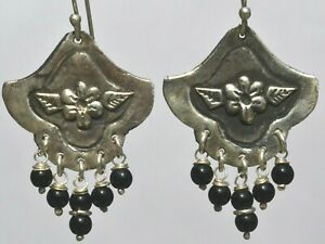 TAXCO MEXICAN JEWELRY 925 STERLING SILVER DANGLE EARRINGS FRIDA KAHLO VTG STYLE