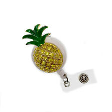 ID Badge Holder Reel Retractable Nurse Pineapple Fruit Brooch Pin Clear Crystal