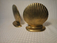 Vintage Brass Clam Scallop Shell Bookends Set Nautical Decor