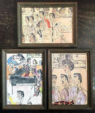 Set of 3 VTG Illustrations of 1941 African American Black Juke Joint Bar Sailors