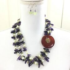 Multi-strand Necklace Agate, Pearl, Amethyst, Peridot and Jade with Earrings
