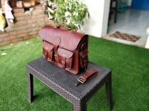 Brown Vintage Distressed Leather Messenger Briefcase Laptop Bag Portfolio Bag