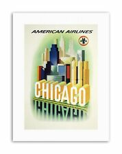 AMERICAN AIRLINES CHICAGO WINDY CITY USA Poster Vintage Travel Canvas art Prints