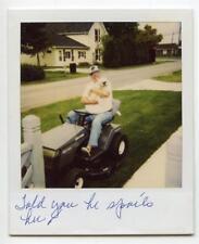 Grandpa Man Sits On Craftsman Lawn Tractor Holds Little DOG Vtg Polaroid Photo