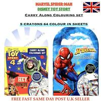Marvel Spiderman Toy Story 4 Carry Along Colouring Pad Party Favour Activity Set