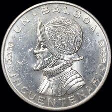 1953 Panama 1 Balboa KM #21 Foreign Silver Coin 50th Ann. of Republic AU-UNC
