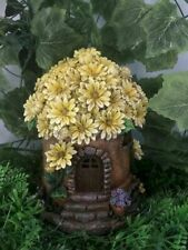Fairy Garden-House with Yellow Floral Roof/Light