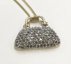 """Diamond Accent Handbag Necklace, Gold Plated Sterling Silver, 18"""" Chain"""
