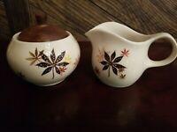 Peter Terris Vintage Shenango China Sugar Bowl w/Wooden Lid & Creamer~VERY NICE!