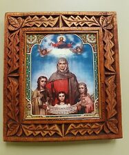 ORTHODOX ICON HAND MADE Сarving Wood Saints Faith, Hope and Charity 18 x 20 cm