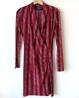 Norma Kamali Faux Wrap Dress Medium Long Sleeve Red Black V Neck Stretch Career
