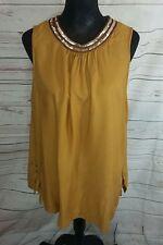 Papaya Womens Top UK14 Mustard Yellow Cotton Sequin Neck Tunic Beach Cover