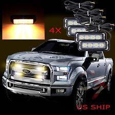 4X 4 LED Car Truck Emergency Beacon Light Bar Hazard Strobe Warning Amber Yellow