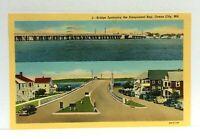 Ocean City Maryland Bridge Spanning Sinepuxent Bay Linen Vintage Postcard