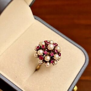 VINTAGE 14K YELLOW GOLD HAREM PRINCESS PEARL & RUBY DOME CLUSTER RING 4.5G