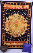 Horoscope Tapisserie Indienne Zodiaque Astrologie Double Tenture Murale