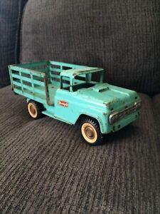 Buddy L Store Door Delivery Rack Truck 13 inch long. Rare aqua