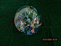 Kerry Glass Ireland Blue Pink & purple Swirl Glass bubble Paperweight Foil Label