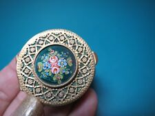 """1.5"""" FRENCH ENAMEL PILL PATCH BOX c. 1890 trinket brass rose France compact"""