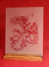 Angel Etched Glass Panel with Oak Wood Stand Handcrafted USA Cherubim Seraphim