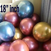 "6-50 pcs 18"" Metallic Pearl Chrome Latex Balloons for Wedding Birthday Party UK"
