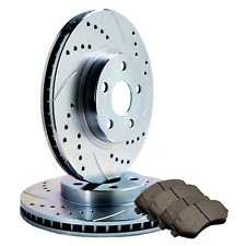 FRONT Fit Ford Mazda Double DRILLED SLOTTED Brake Rotors Ceramic Pad ATL049084