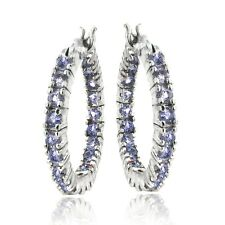 925 Silver 1.75ct Tanzanite Inside-Out 20mm Hoop Earrings