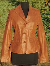 Suede Womens Apt 9 Jacket Blazer Sz S Leather Lined Brown Metallic Tailored