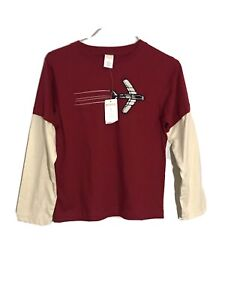 Gymboree Red and White Long Sleeve Graphic Shirt Toddler Boys Sz 8