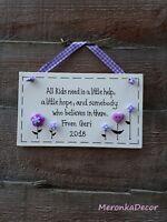 Little help Teacher gift -Big heart-Nursery-Personalised Handmade Wooden Plaque