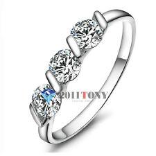 Triple Simulated Diamond Gemstone Wedding Rings 18K White Gold Plated Jewellery