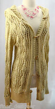 To The MAX gold cardigan L/S sweater layer top open loose knit toggle button M