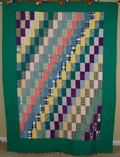 VIBRANT Vintage 40's Straight Furrows Antique Quilt ~NICE NOVELTY PRINT BACK!