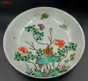CHINE PLAT PORCELAINE FAMILLE VERTE MARQUE KANGXI CHINESE CHARGER PORCELAIN 34.5