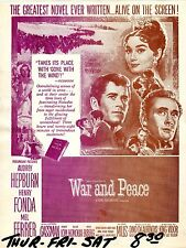 War and Peace Mini Window Poster Audrey Hepburn 1956 Arrow Theatre msu9