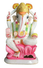 "10"" White Marble Ganpati Ganesh Idol Statue Hand Painted Design Home Decor E1302"